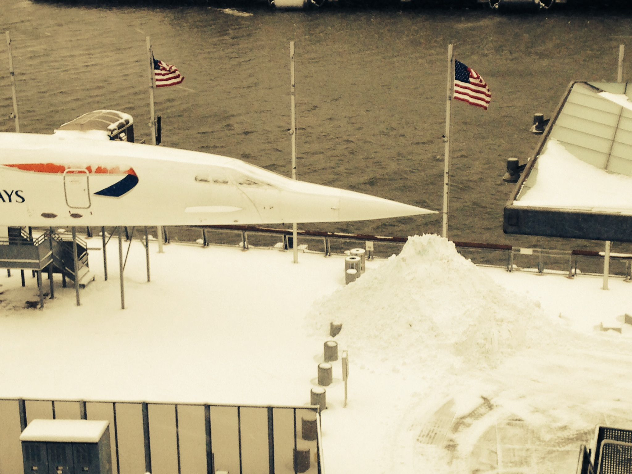 The nose of the Concorde during the #Blizzardof2015 in January 2015.