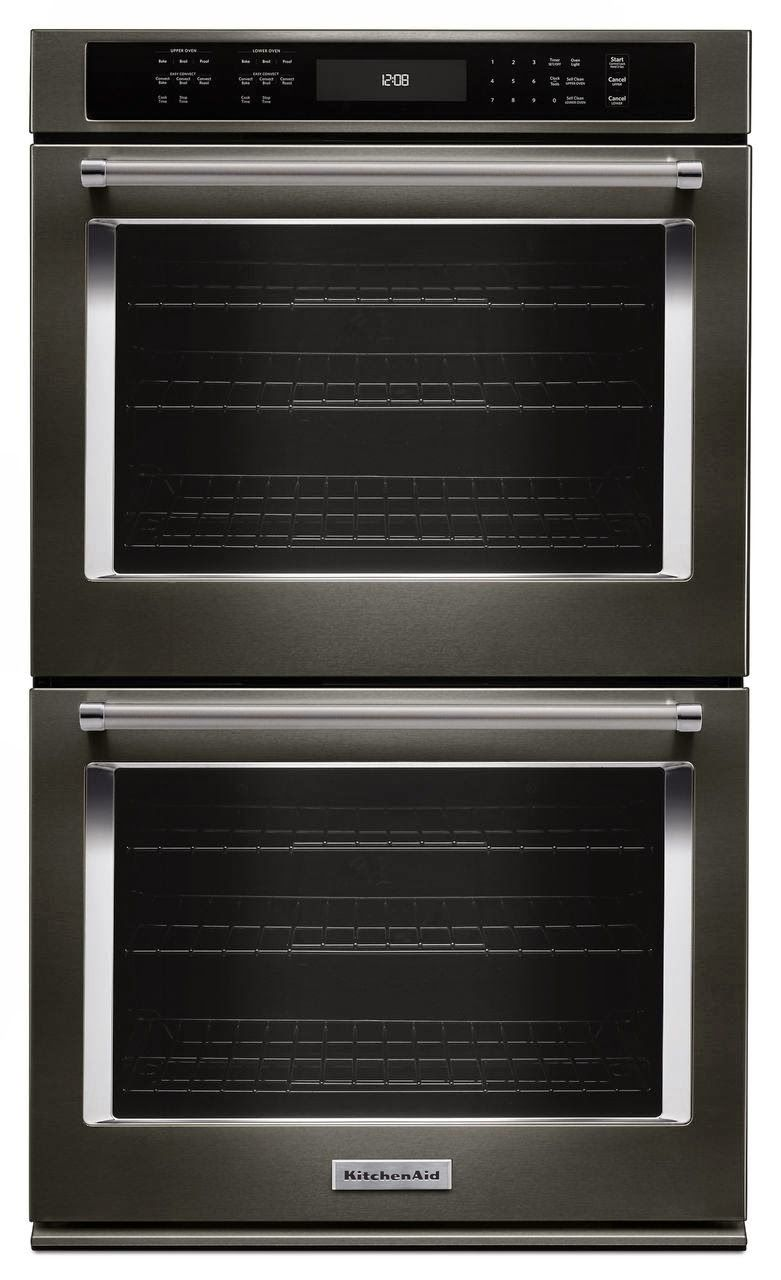 KitchenAid 27 In. Double Electric Wall Oven Self Cleaning With Convection  In Black Stainless