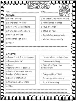 questions to ask preschool teacher at conference free editable parent conference form parent 483