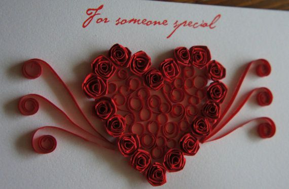 Quilled Red Heart Valentine Card by AgaQuilling on Etsy, £5.00