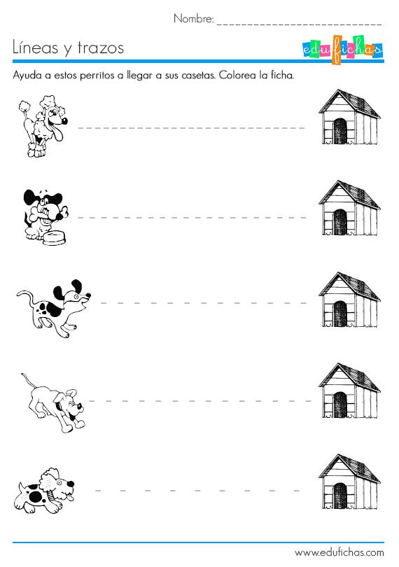 Trazos Y Lineas Rectas Ficha Educativa Preescolar Edufichas Com Trazos Preescolar Habilidades De Preescritura Grafomotricidad