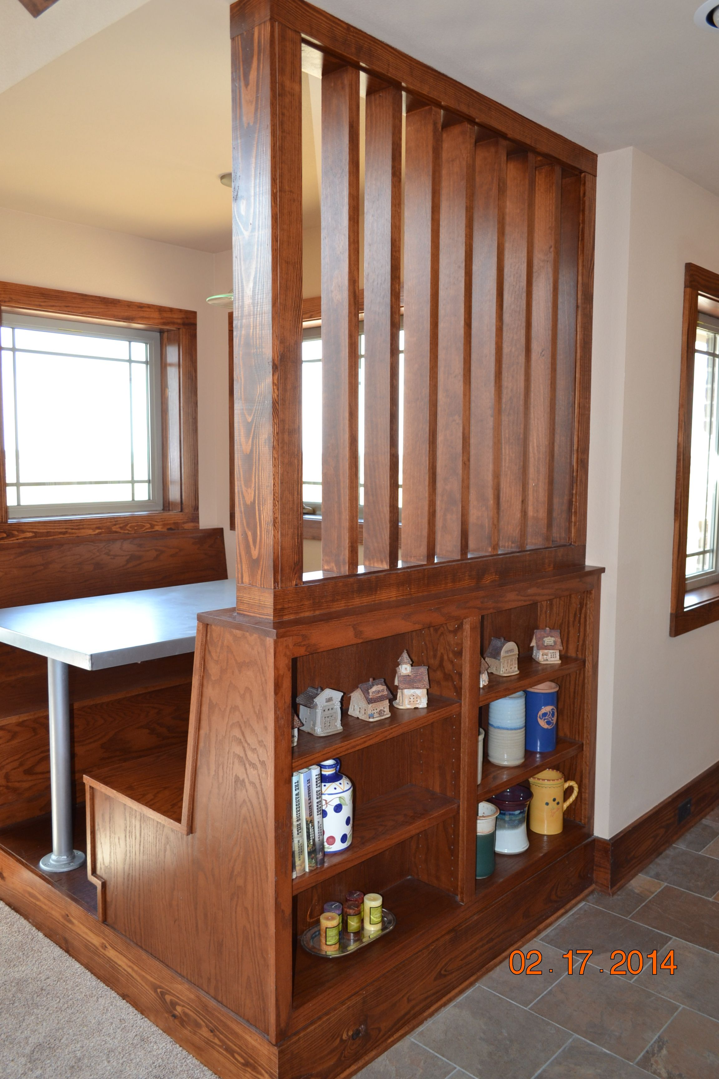Dining Booth Partition With Book Case Entry Hall To Right This Nook Is Adjacent The Kitchen And Living Room Where We Like Eat Watch Tv