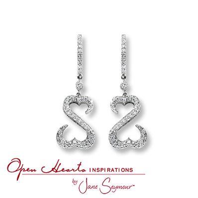 Open Hearts Earrings 1 Ct Tw Diamonds Platinum