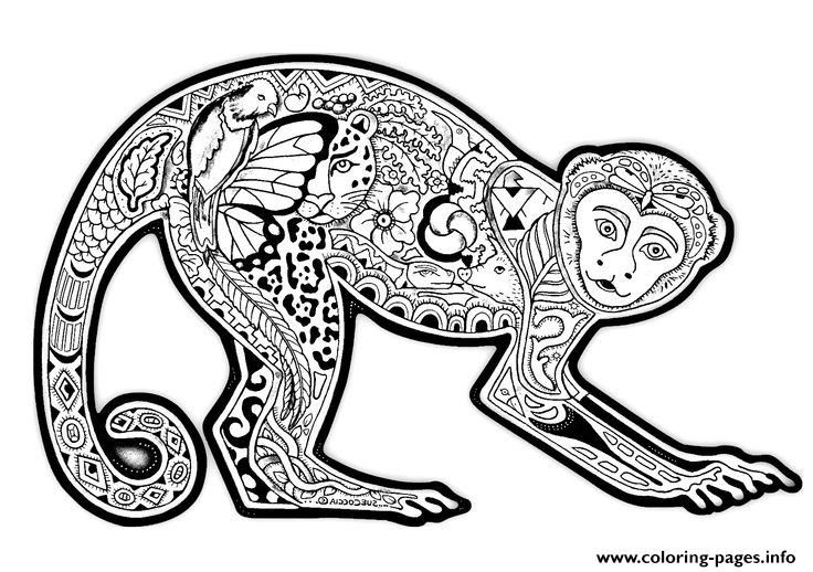 Print Adults Difficult Animals Cute Monkey Free Printable Coloring Pages