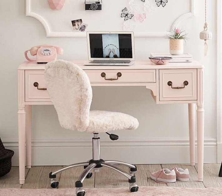 Brushed Nickel Base Round Upholstered Kids Desk Chair