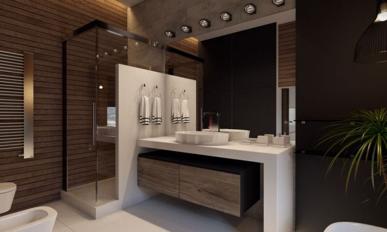 Diseño de baños en tonos oscuros - ideas y decoración ...