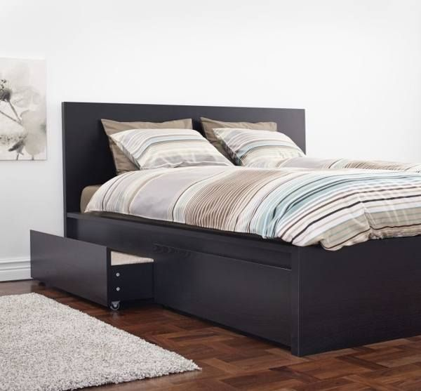 Beds: MALM Bed Frame, High, W 4 Storage Boxes, With Slatted Bed Base