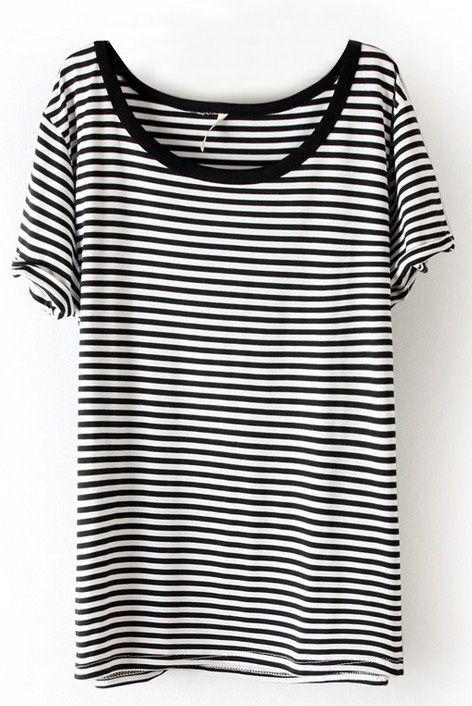 Shop Black White Striped Short Sleeve Slim T-Shirt online ...