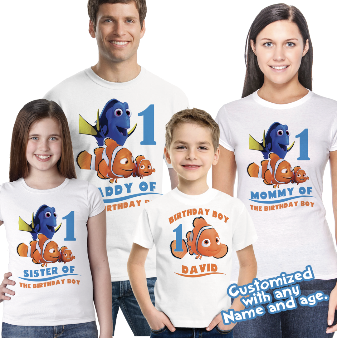 Finding Nemo Birthday Shirt Custom Name and Age Personalized Finding Dory Tee