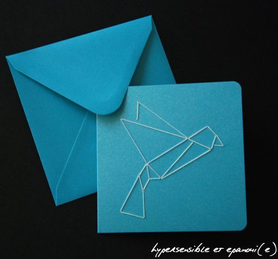 diy origami bird embroidery card kitsensitivelife