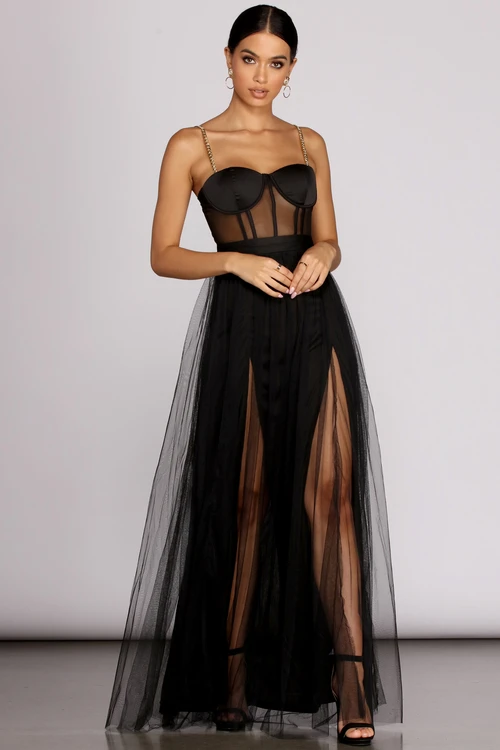 Cintra Mesh Tulle Bustier Gown