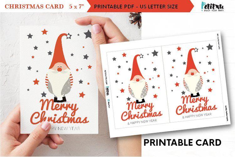 Christmas Gnome Printable Card 5x7 Digital Christmas Card 384737 Other Design Bundles In 2021 Digital Christmas Cards Christmas Cards Christmas Card Design