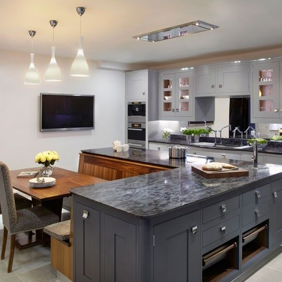 Elegant L Shaped Solid Wood Kitchen Cabinets Latest: Family Kitchen With Grey Cabinetry, L-shaped Island Unit