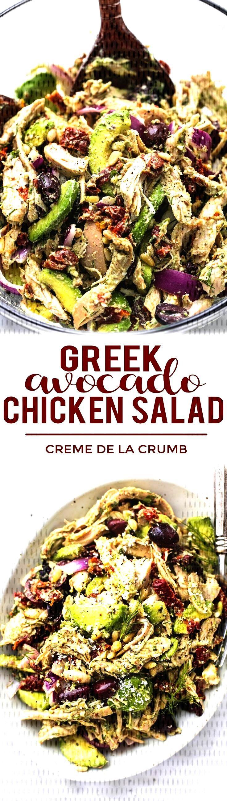 Easy healthy Greek Avocado Chicken Salad with light greek yogurt lemon herb dres... -