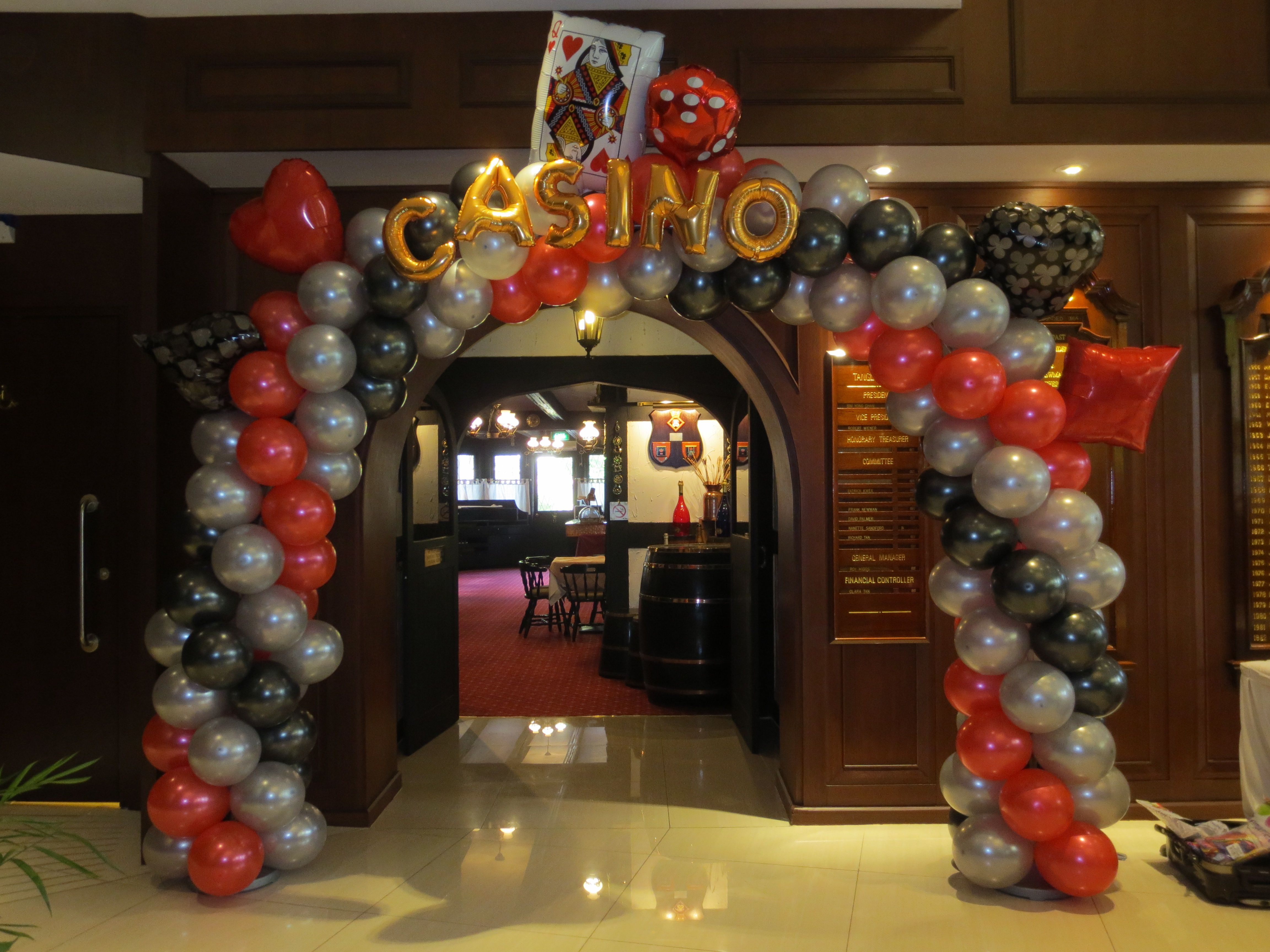 customised casino balloon arch in singapore - Casino Decorations
