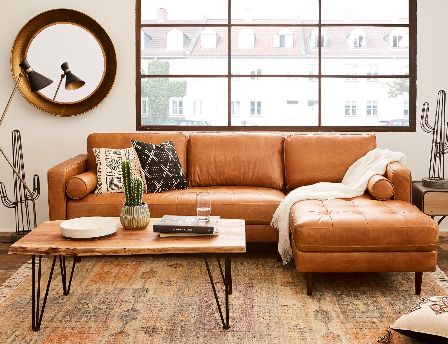 Swell Kinsey Copper Right Facing 100 Leather Sectional Sofa In Machost Co Dining Chair Design Ideas Machostcouk