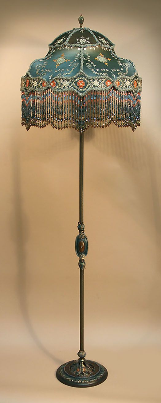 Antique Floor Lamps U0026 Beaded Victorian Lamp Shades By Antique Artistry.  Painted Metal, Ornate Floor Lamp Holds A U0027WHIMSEYu0027 Shaped Shade.