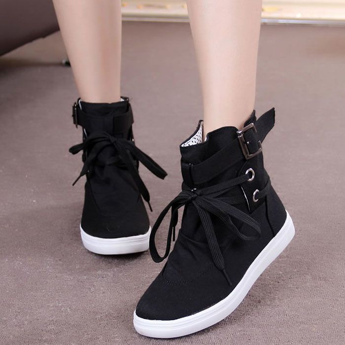 New  Women Girls Leather Boots Lace Up High Top Wedge Heel Trainer Shoes Sneaker