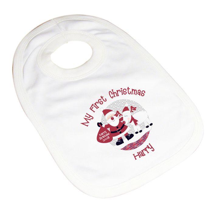 Personalised Baby Baby Bib 1st Christmas Celebration