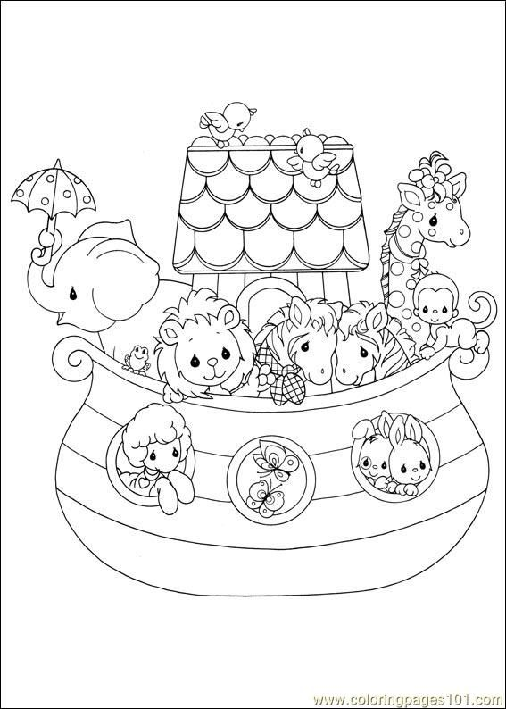 Precious moments 05 noah 39 s ark larger image on file for Noah ark coloring page