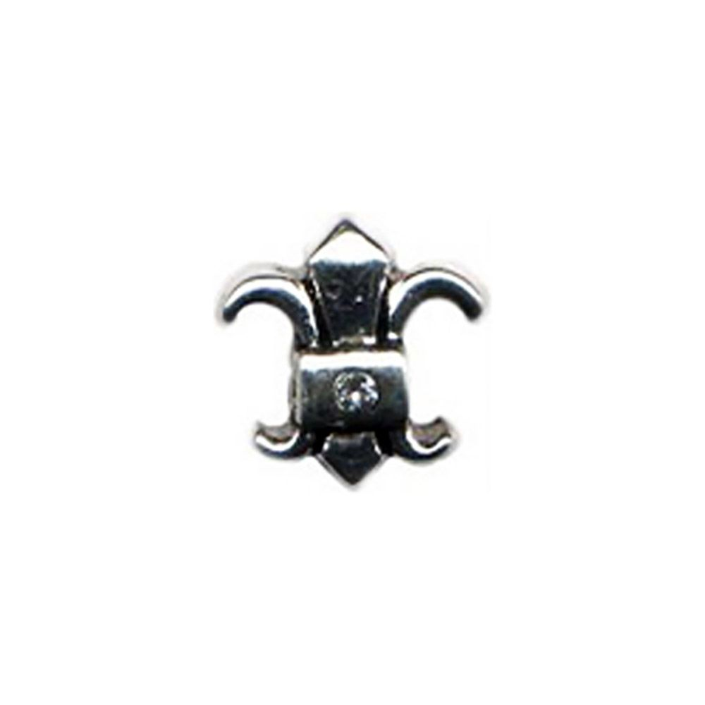 This Fleur Del Lis Bead features a center of a white cubic zirconia that sparkles! This Fleur De Lis CZ bead fits on Pandora and Oriana jewelry.