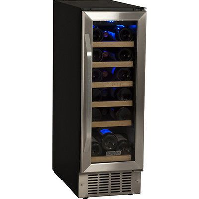 12 Compact Built In Wine Refrigerator Stainless Steel Cooler W Wood Shelves Built In Wine Cooler Built In Wine Refrigerator Wine Refrigerator