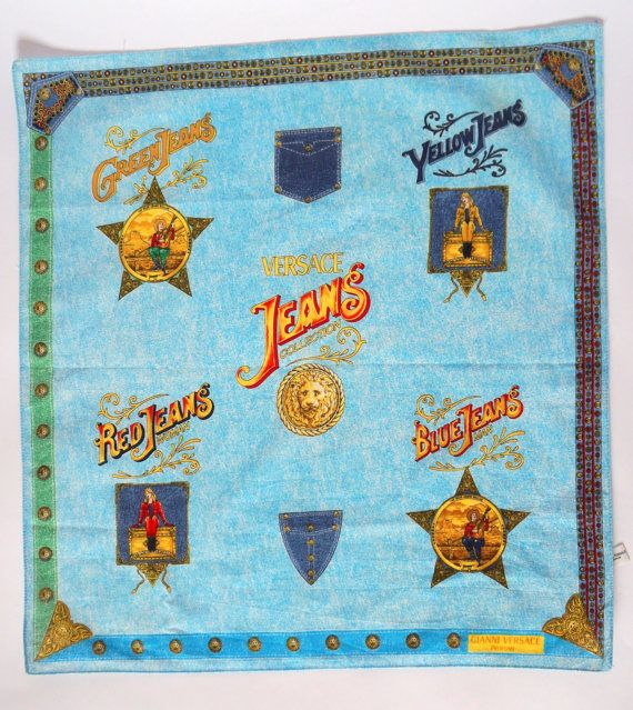 Hello Im happy youre here VINTAGE PANDORA I offer vintage VERSACE profumi scarf AUTHENTIC ! 100% cotton Made in Italy color: blue/multicolor used