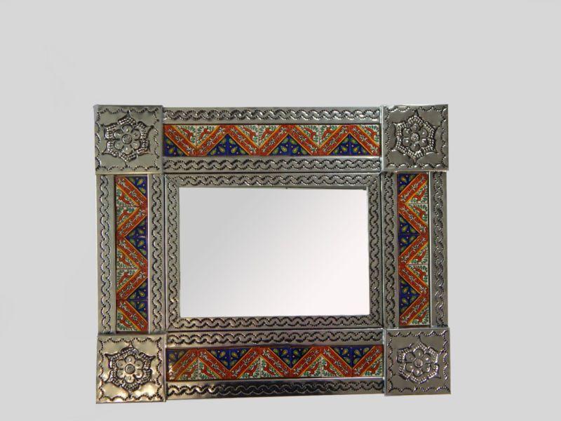 Punched Tin Mirror Talavera Tile Mexican Folk Art Wall Decor ...