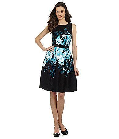 24c435ac158 Leslie Fay Belted Floral FitandFlare Dress  Dillards  60.00 ...