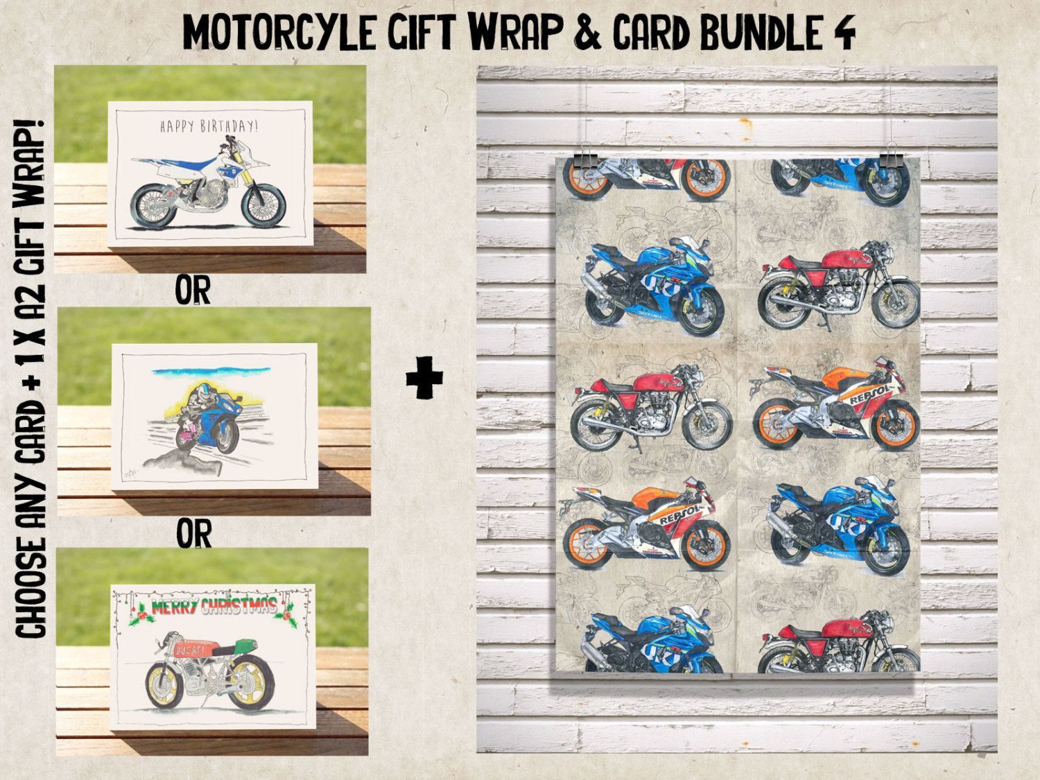 Motorcycle Wrapping Paper Gift Card Bundle No 4 Sportsbikes A2