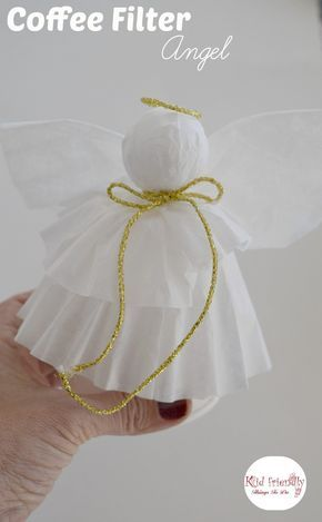A Simple Coffee Filter Angel Christmas Tree Topper