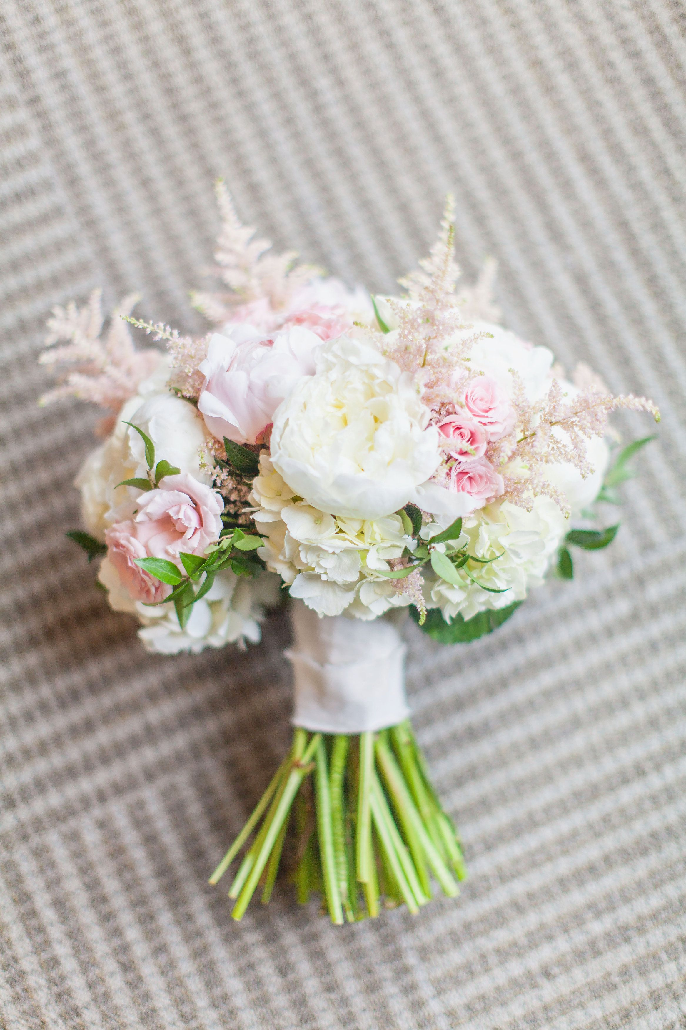 Blush and ivory bridal bouquet. White peonies, light pink ...