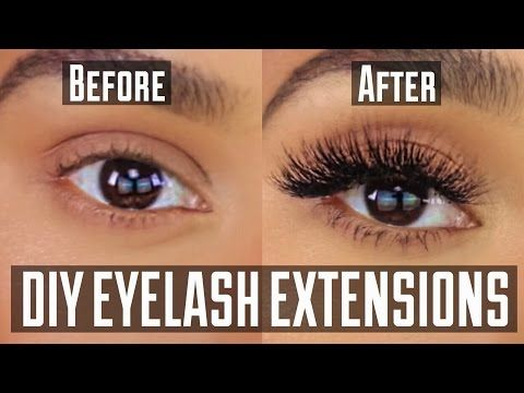 DIY PERMANENT AT HOME EYELASH EXTENSION APPLICATION - YouTube