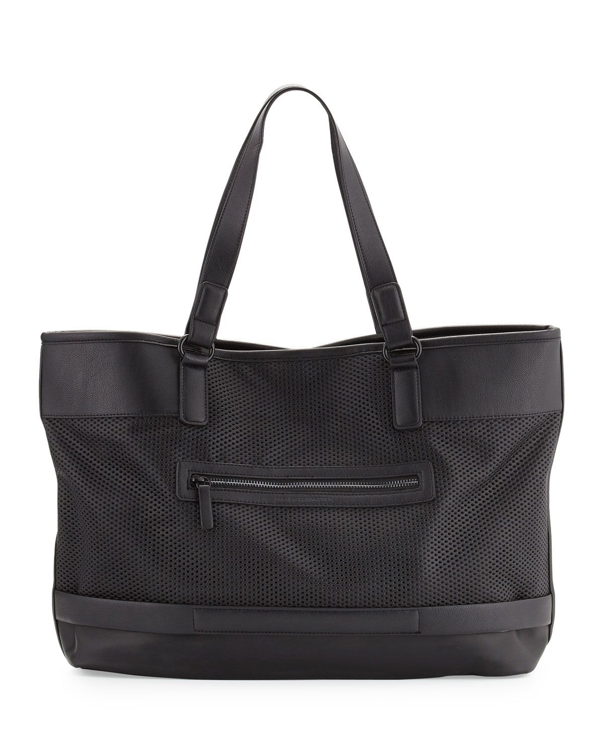 French Connection Edie Perforated Tote Bag, Black, Women's