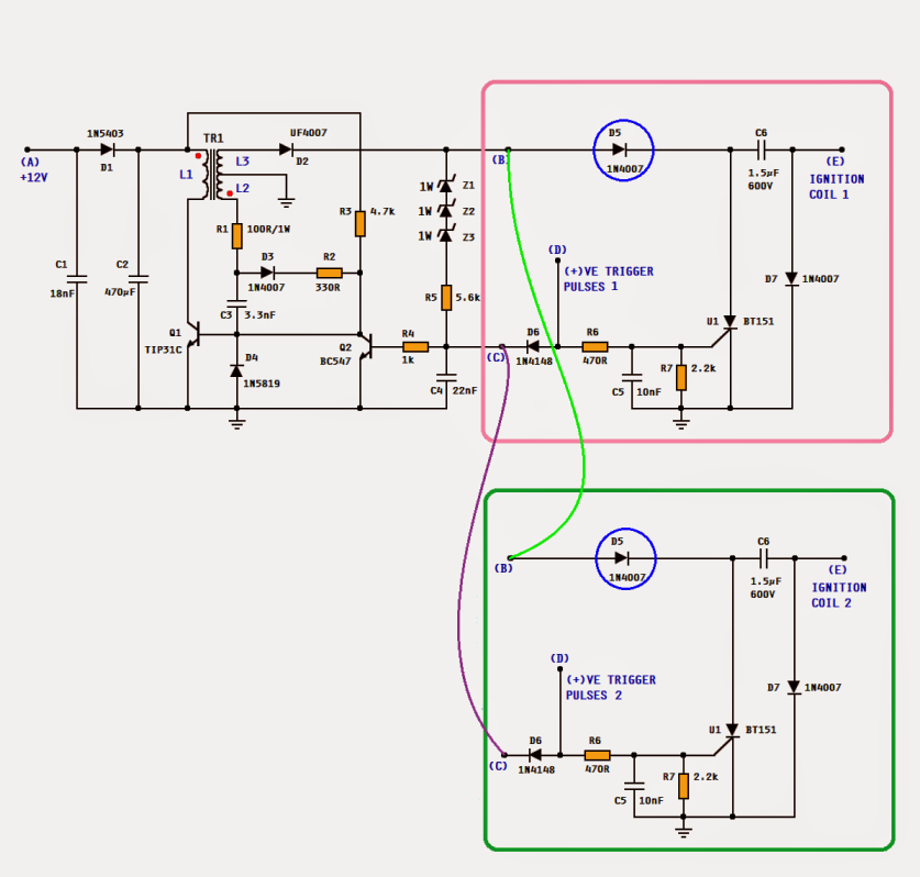 cdi ignition schematic make this dc cdi circuit for motorcycles  make this dc cdi circuit for motorcycles