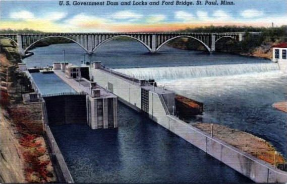 mississippi river locks and dam and ford bridge st paul