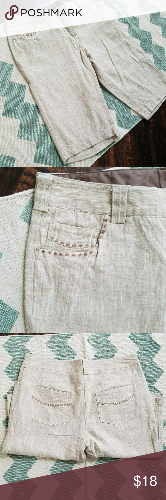 Willi Smith linen shorts Size 10 Inseam- 14 inches Waist - 16 inches (measured flat)  Photos are the description of this item. Any flaws will be noted. Otherwise article is in good-excellent condition.  Feel free to ask questions ? Willi Smith Shorts Bermudas
