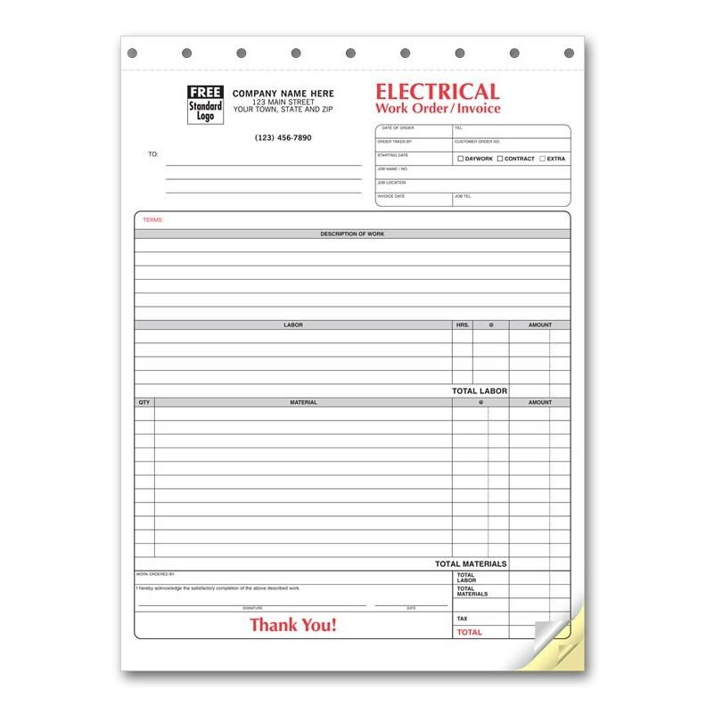 Electrician Invoice 3 Part Carbonless Copies Preprinted Personalized Invoice Template Invoice Template Word Electrician