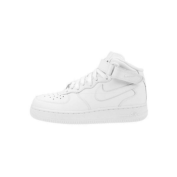 Nike Air Force 1 Mid (190 BRL) ❤ liked on Polyvore featuring shoes, sneakers, footwear, nike, white velcro shoes, velcro shoes, nike trainers, white trainers and ankle strap shoes