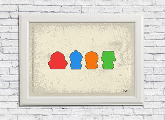 South Park Minimalist Print Art Home Decor Wall Decor Men Gift Wall Art Boys Decor Minimalist Art Print Minimalist Prints Boy Decor