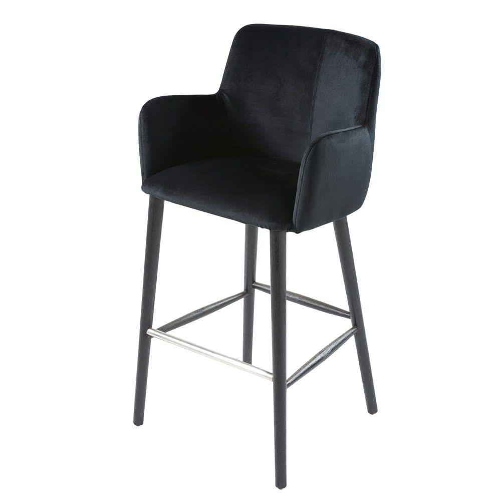Chaise De Bar Professionnelle Vintage En Velours Noir H110 Doris Pro Maisons Du Monde Keukens