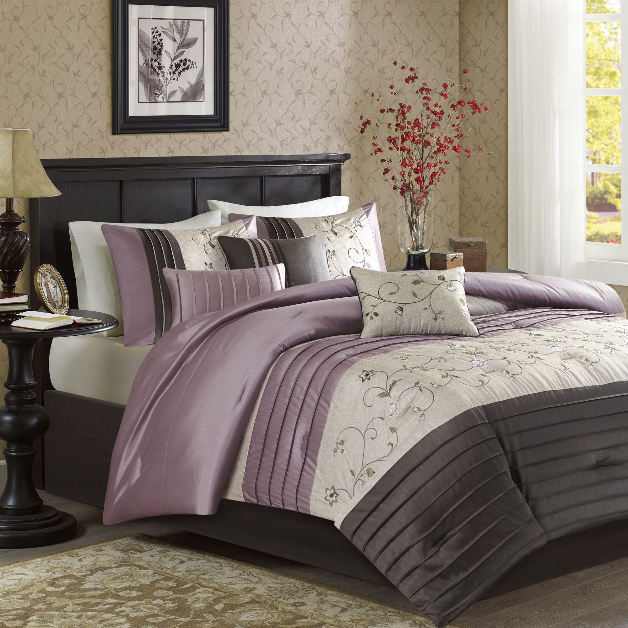 comforter flsfe com amazon queen sets grey mizone set kitchen keisha piece dp purple full bed home