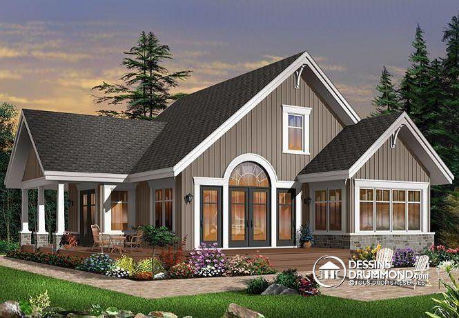 W3945 - Maison style chalet panoramique avec chambre des maîtres au - dessiner plan de maison