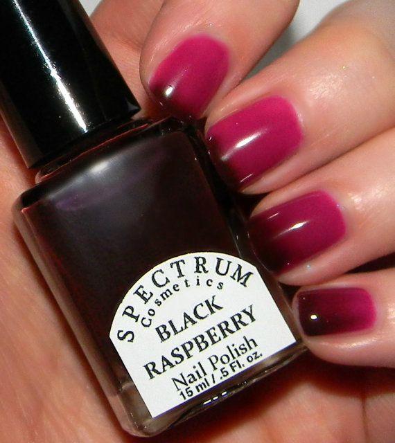 BLACK RASPBERRY Color Changing Thermal Nail Polish Dark Maroon to ...