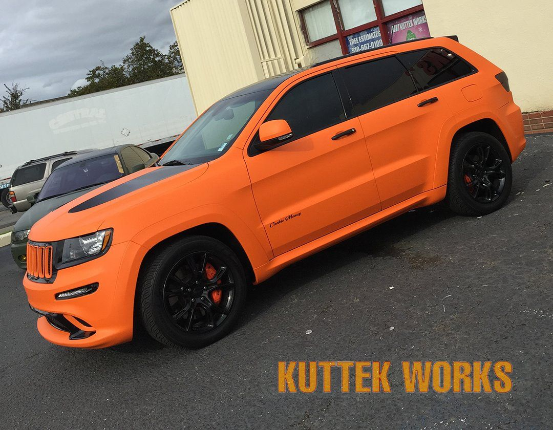 Check Out This Attention Grabbing Color Change Wrap From Kuttek Works Www Kuttek Com Material Used Arlon Matte Srt Jeep Jeep Grand Cherokee Srt Orange Jeep