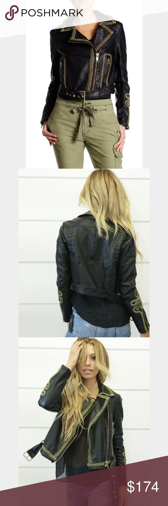 22bbb3b5ad2b7 Free People Bang Bang vegan leather moto jacket Black and gold accents