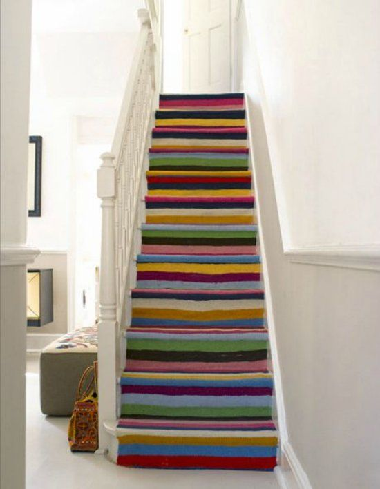 Best Salvaged And Painted Stairs Painted Stairs Stair Runner 400 x 300