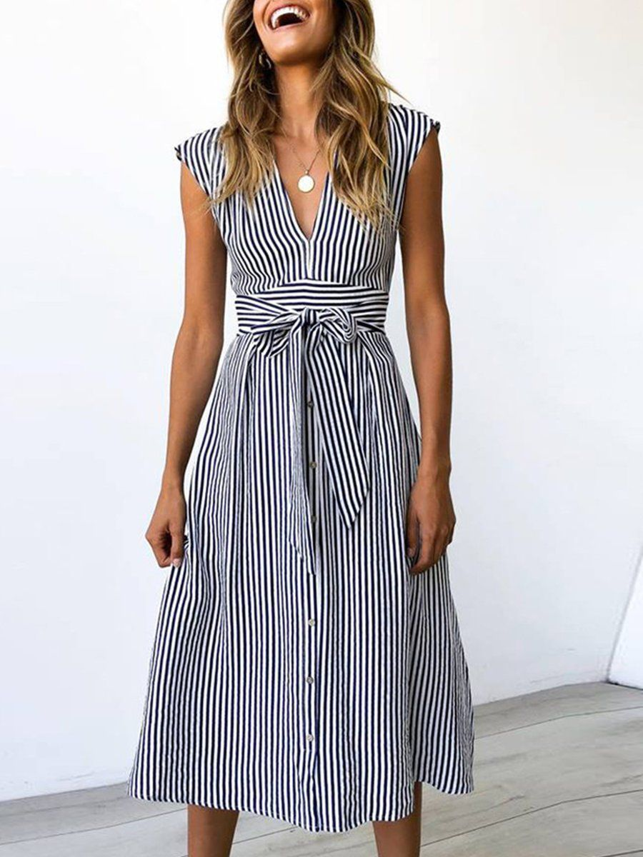 Stylewe Summer Dresses Casual Dresses Holiday V Neck Casual Dresses Striped Casual Dresses Casual Dresses For Women Casual Dresses [ 1200 x 900 Pixel ]
