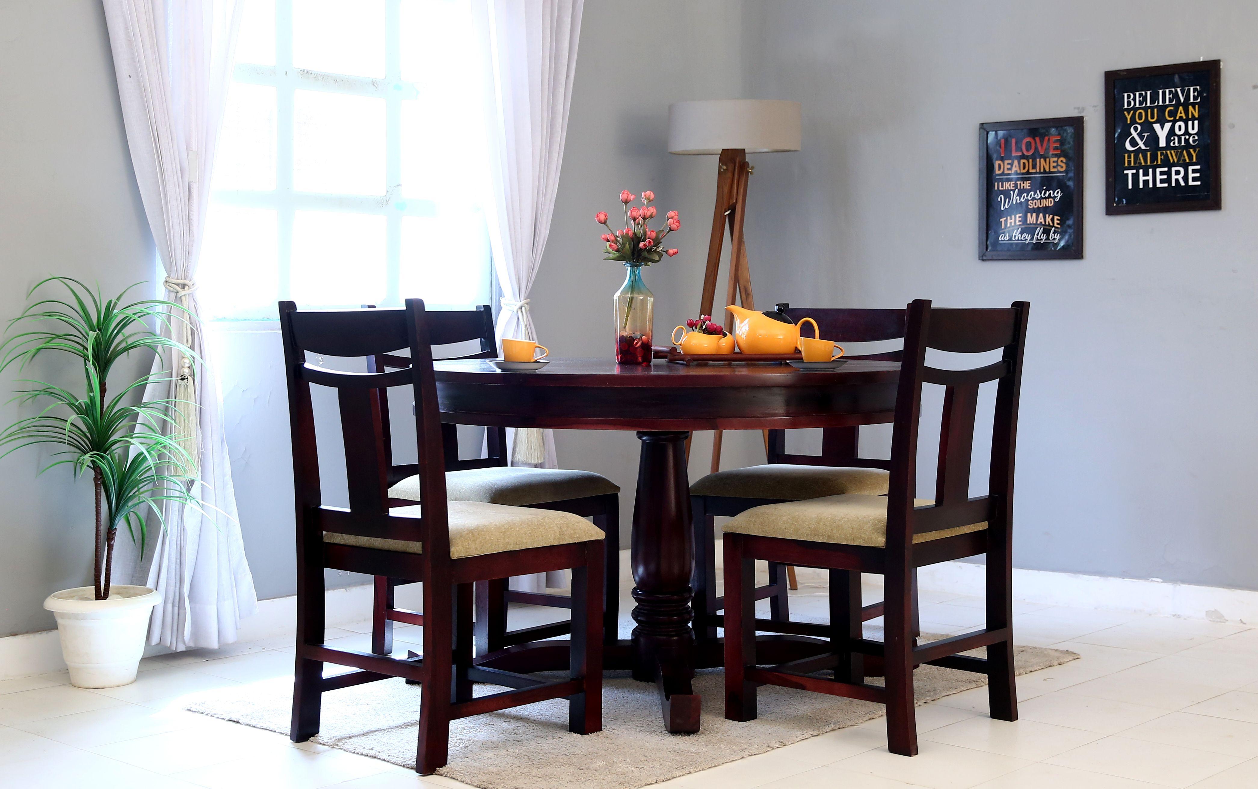 Buy Isadora 4 Seater Round Dining Set Honey Finish Online In India Round Dining Set Dining Set Round Dining