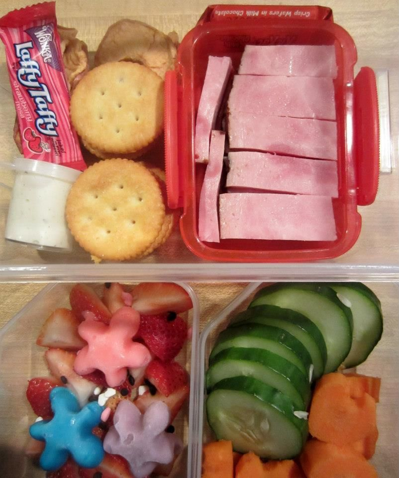 Leftover Baked Ham Cheese Spread And Ritz Cracker Sandwiches Dried Apple Chips Cuber